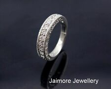 Genuine 925 Sterling Silver CZ Engagement Eternity Wedding Ring + Gift Pouch