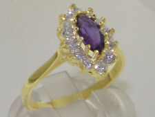 Solid 925 Sterling Silver Natural Amethyst & Diamond Traditional Cluster Ring