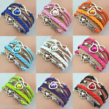 Infinity Love Heart Pearl Friendship Antique Silver Leather Charm Bracelet FAST