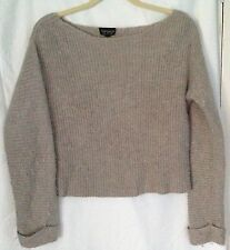 Ladies Topshop Ribbed Knitted Cable Knit Cropped Jumper Grey Beige Brown 10 S