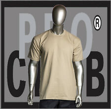 1 New Mens Pro Club Heavyweight Khaki Blank T Shirt M to 3XL PROCLUB