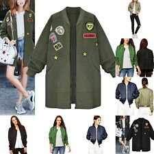 Womens Lady Classic Padded Bomber Jacket Vintage Zip Up Biker Coat Outerwear New