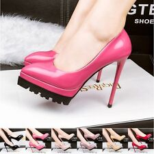 Pointed Toe Womens Stilettos High Heels Platform Pumps Patent Leather Work Shoes