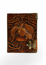 Embossed Horse Emblem Brown Leather Journal / Diary / Lock/ Notebook / Notepad