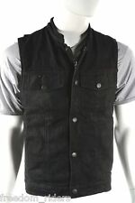 Mens Black Denim Motorcycle Biker Club Vest Gun Pocket Concealed  S - 6X
