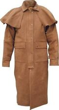 Mens Brown Leather Western Motorcycle Biker Duster Long Outback Coat Buffalo