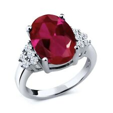 5.90 Ct Oval Red Created Ruby White Created Sapphire 14K White Gold Ring