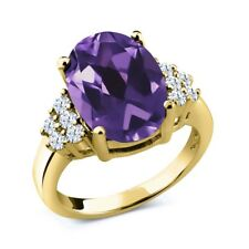 4.90 Ct Oval Purple Amethyst White Topaz 18K Yellow Gold Ring