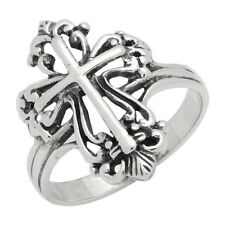 Solid Sterling Silver Filigree Cross Ring Size 6 7 8 9 High Polished NEW