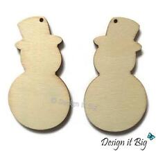 5,10 Snowman with Hole Blank Wooden Craft Embellishment Shapes Christmas Tags