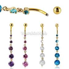 Belly Drop BodyPiercing Belly Button Ring Crystal Dangle Reverse Navel Bar