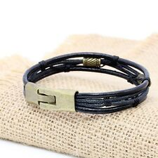 Mens Womens Braided Leather Surfer Wristband Bracelet Cuff Wrap Black Brown ta