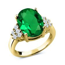4.30 Ct Oval Green Simulated Emerald 18K Yellow Gold Plated Silver Ring