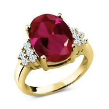 5.30 Ct Oval Red Created Ruby 18K Yellow Gold Plated Silver Ring