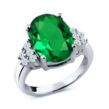 4.30 Ct Oval Green Simulated Emerald 925 Sterling Silver Ring