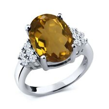 4.40 Ct Oval Whiskey Quartz White Topaz 925 Sterling Silver Ring
