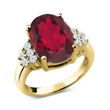4.30 Ct Oval Red Mystic Quartz 18K Yellow Gold Plated Silver Ring