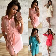 Sexy Women Off Shoulder Shirt Collar Dress Loose Casual Party Evening Mini dress
