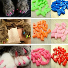 New 20pcs Soft Cat Pet Nail Caps Claw Control Paws off +Adhesive Glue  XS-XL SP