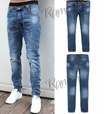 New Mens Boys Acid Wash Faded Ruched Skinny Fit Blue Denim Jeans Stretch Pants