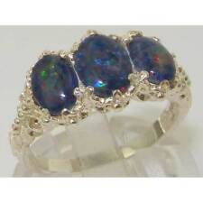 Victorian Design Solid English 925 Sterling Silver Colorful Opal Ladies Ring