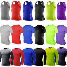 Mens Sports Compression Base Layer Top Tight Vest Body Armour T-Shirt Under Skin