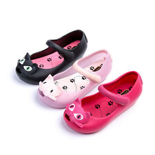 Kids Girls Jelly Shoes Cats Candy Color Fish Head Ankle-strap Big Size Cute Flat