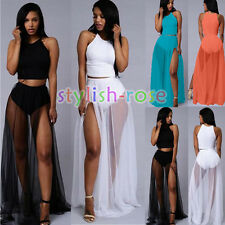 Women Crop Top Long Maxi Chiffon Skirt set Outfit Slit Beach Club Dress Black