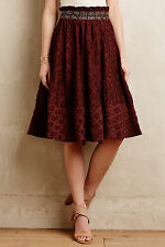 Anthropologie Diamond-Cut Skirt Sz 2, Full w/Embroidered Paperbag Waist By Maeve