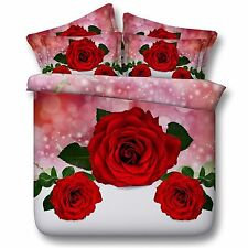 3D Bedding Quilt Doona Duvet Cover Bed Sheet Pillowcase Set Queen -Rosetriplet--