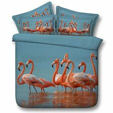 3D Bedding Quilt Doona Duvet Cover Bed Sheet Pillowcase Set Queen -Waterflamingo