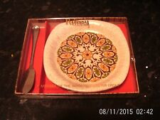 Vintage Royal Worcester Palissy  Pattern Butter Dish & Knife, Boxed.