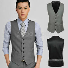 Cotton Blend Formal Slim Fit Business Single Breasted Tops Vest Suit Waistcoat