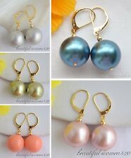 X0315 16mm round south sea shell pearl dangle Earring