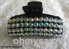 "NEW  BLACK PLASTIC HAIR CLIP / COMB /CLAW 3  ""LONG/ MULTICOLOR STONE FLAT BOTTOM"