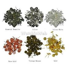 100 Blank Pad Stud Earring Post Pin Jewelry Making Findings-6 Colors 8mm
