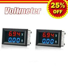 2pcDC100V 10A  Dual Red+Blue LED Digital Voltmeter Ammeter Volt Amp Meter Gauge@