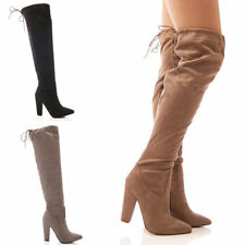 LADIES WOMENS OVER THE KNEE BOOTS LONG LEG BLOCK HEEL TIE DRAWSTRING SHOES SIZE