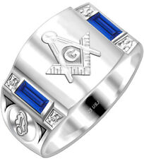 0.925 Sterling Silver Gold Masonic Blue Lodge Customizable Mason Solid Back Ring