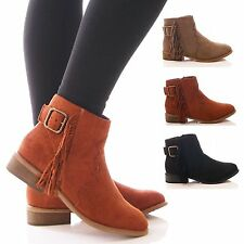 LADIES WOMENS ANKLE BOOTS FLAT TASSEL FRINGE BUCKLE BOHO FESTIVAL SHOES SIZE
