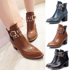 Women's Chunky High Heels Booties Ankle Boots Fashion low Shoes Size Pumps New