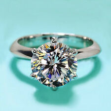 18K White Gold GP 4ct Solitaire Wedding ENGAGEMENT RING Swarovski S641