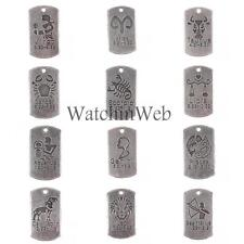10 x Square Pendant Horoscope Zodiac Sign Unique Charms Jewelry DIY Making Gift