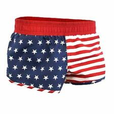USA American Flag Stars & Stripes Red White Blue Men's Shorty Athletic Shorts