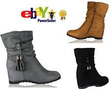 NEW LADIES HEEL WEDGE ANKLE TASSEL BOOTS FAUX SUEDE HI TOP SLOUCH SHOES SIZE 3-8