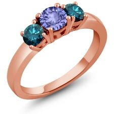 1.00 Ct Round Blue Tanzanite Blue Diamond 14K Rose Gold Ring