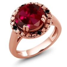 4.05 Ct Round Red Created Ruby Black Diamond 18K Rose Gold Plated Silver Ring