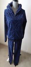 NEW JUICY COUTURE PLEATED HOODIE & JOGGER PANTS INDIGO LEOPARD SET Size XL / L
