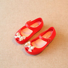 Kid Jelly Shoes Bow Sandals Girls Big Size Hollow Ankle-straps Rubber Sole Flats
