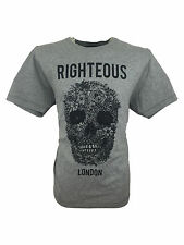 SALE £11 //Mens Size XL Righteous London Floral Skull Design Tee T-Shirt in Grey